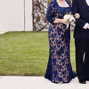 Jovani Navy/Nude lace Mother of the Bride dress